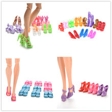 10 pair Fashion Fixed Styles Doll Shoes Bandage Bow High Heel Sandals for Dolls Accessories Toys(China)
