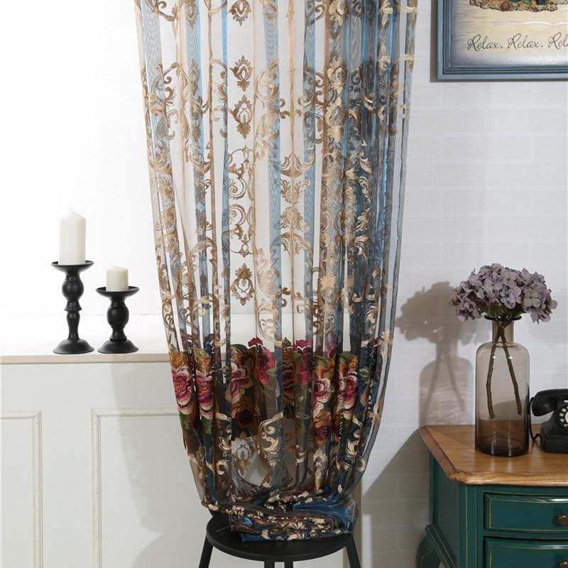 Luxe européen broderie fleur rideaux Tulle transparent pour salon chambre balcon fenêtre rideau
