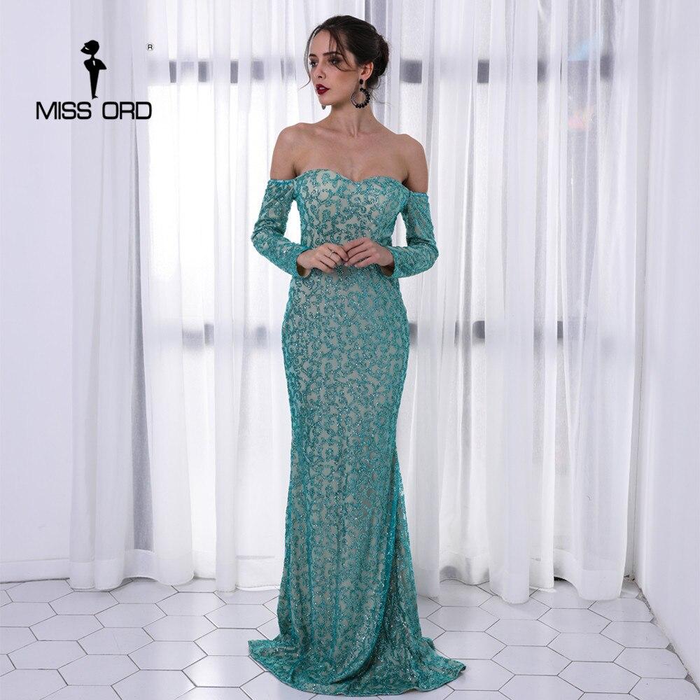 Missord 2019 Sexy soutien-gorge à manches longues hors épaule robes paillettes Maxi robe élégante FT8688