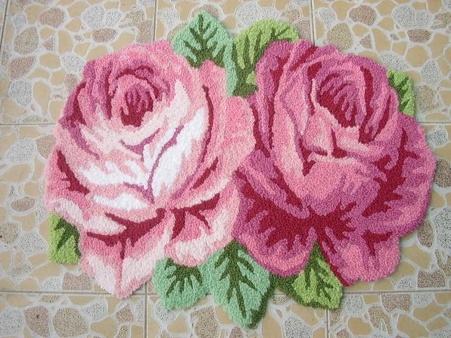 60*70 CM mode salon tapis fait à la main thé Table tapis Rose paillasson