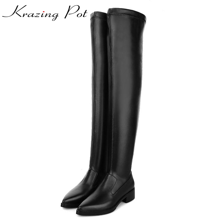 Krazing Pot cow leather sheep suede pointed toe superstar thigh high winter warm stretch boots European over-the-knee boots L6f1 ppnu woman winter nubuck genuine leather over the knee snow boots women fashion womens suede thigh high boots ladies shoes flats
