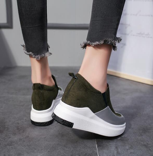 2018 Des Sneakers Femme Mode Casual Chaussure Femmes Chaussures forme Printemps Formateurs Sport Noir Plate Dames vert rrxgnf