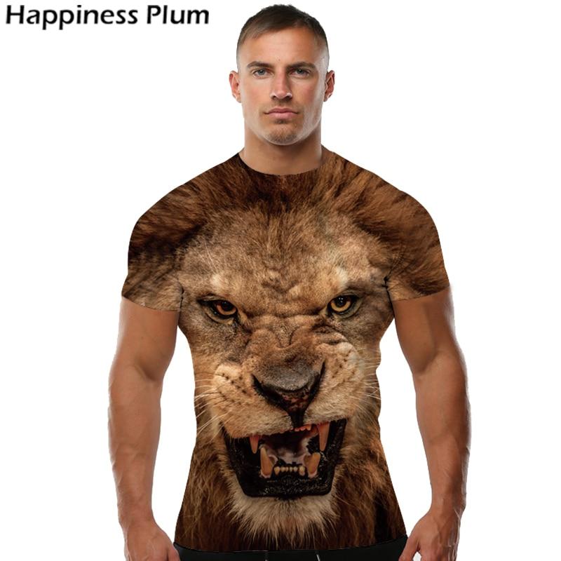 Ferocious Lion Shirt Cool T Shirt Férfi Rövid ujjú 3D-s pólók - Férfi ruházat