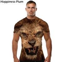 Ferocious Lion Shirt Cool T Shirt Men Short Sleeve 3d T Shirts Print Anime Mens Brand
