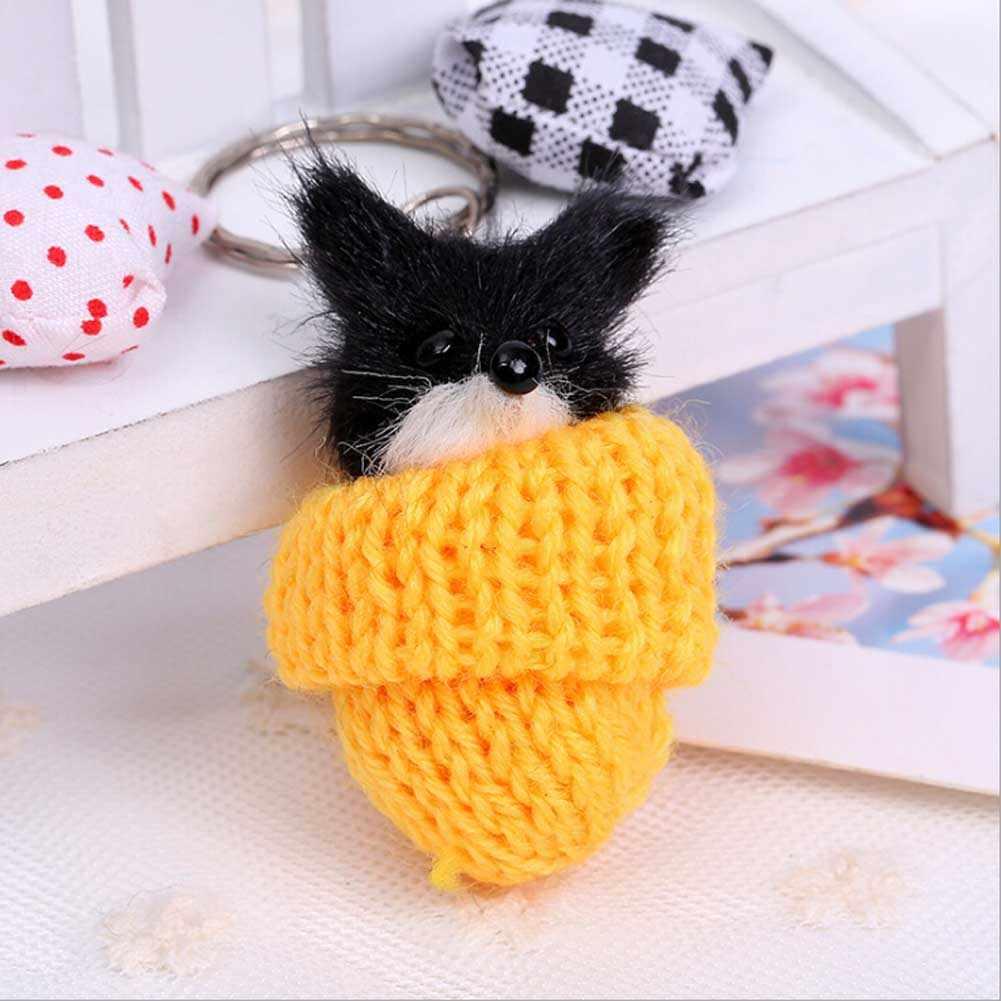 Pele pompom pingente de carro charme feminino saco pingente macio chaveiro pequenos animais em um chapéu imitação cabelo chaveiro cor aleatória