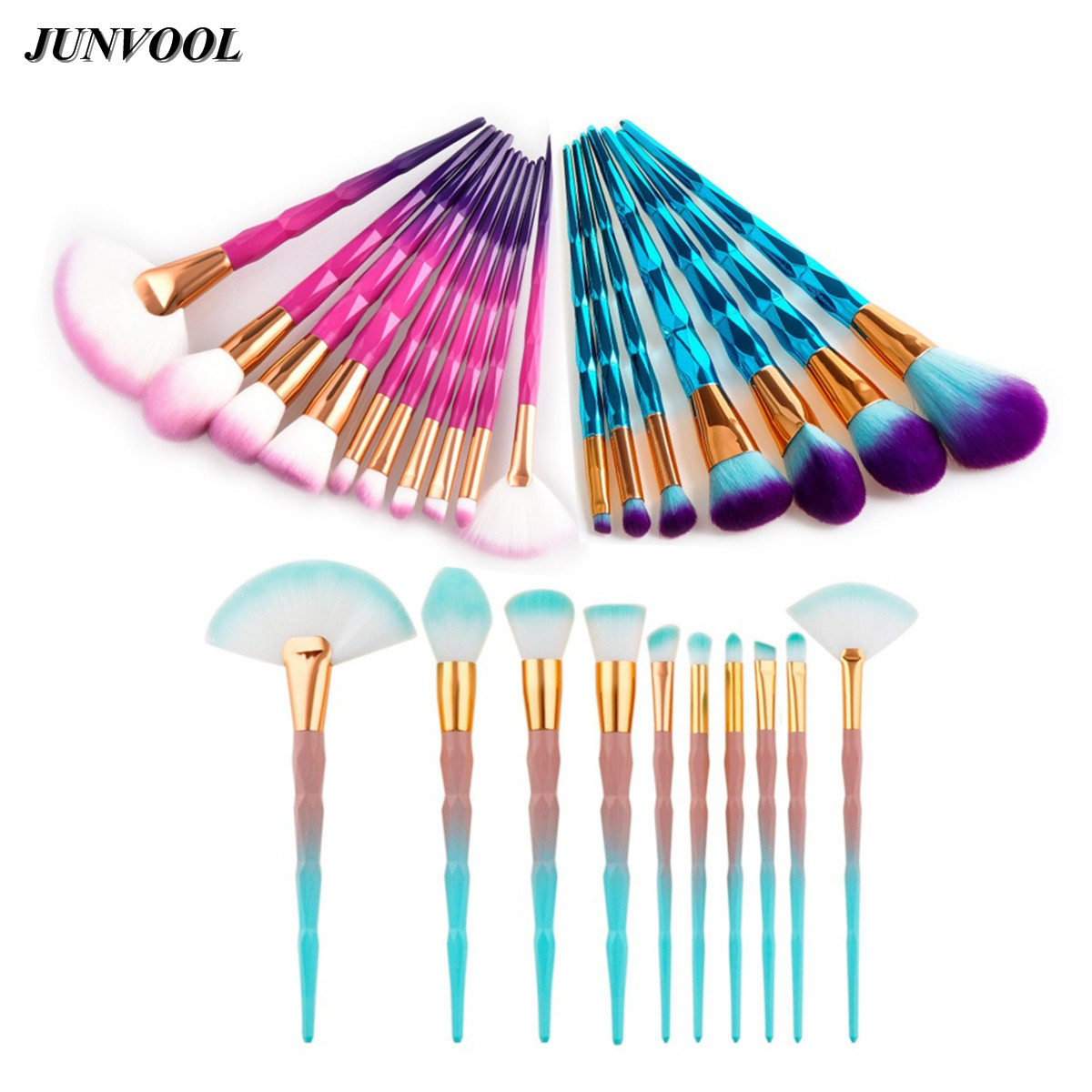 Pro Diamond Design Rainbow Handle Makeup Brushes Set Foundation Powder Blush Eye Shadow Lip Fan Brush Face Beauty Makeup Tools fan makeup brush set 9pcs rainbow diy