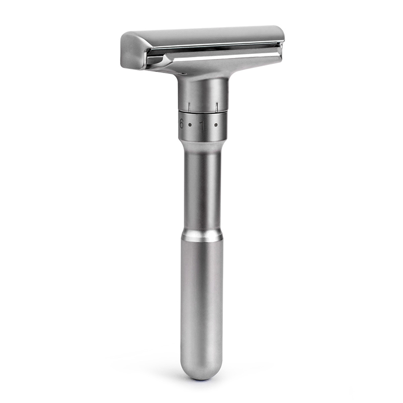 QShave Classic Adjustable Safety Razor Manual Silver Color Double Edge Shaving Safety Razor