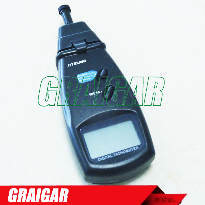 DT6236B FREE fast shipping PHOTO/CONTACT TACHOMETER SURFACE SPEED METER DT6236B Yellow backlight LCD