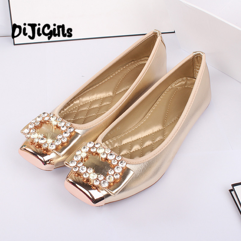 Elegant Square Rhinestone Soft Leather Women Flats Brand Shoes Woman Boat Shoes Casual Ladies Flats Plus Size 42 Free Shipping beyarne rivets decoration brand shoes flats women spring autumn fashion womens flats boat shoes sexy ladies plus size 11