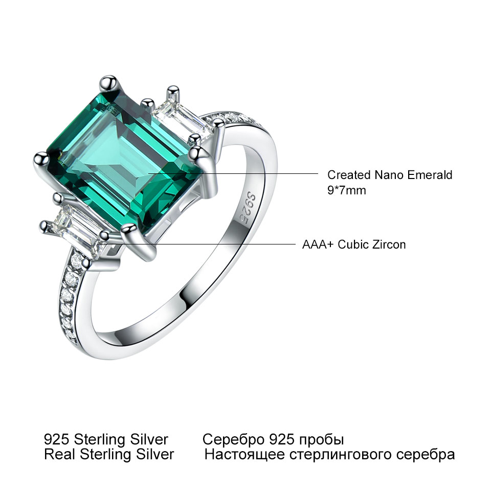 UMCHO Green Emerald Genuine 925 Sterling Silver Rings for Women Promise Princess Gemstone Ring Wedding Romantic UMCHO Green Emerald Genuine 925 Sterling Silver Rings for Women Promise Princess Gemstone Ring Wedding Romantic Jewelry Gift New