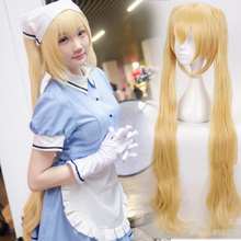 Perruque Cosplay Blonde en queue de cheval mélangée S Kaho, perruques Lolita en queue de cheval longues ondulées + bonnet de perruque, 100cm