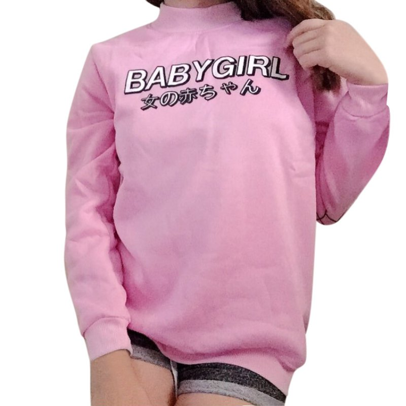 Women Hoodies Japanese Baby Girl Letter Print Harajuku Sweatshirt Casual Women Tops Shirts Loose Casual Pink Black Hoodie