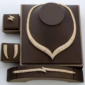 Image 2 - Jewelry Set HADIYANA Vintage Women Wedding Fashion Party Necklace Bracelet Earrings And Ring Set Zircon TZ8029 Conjunto de joyas