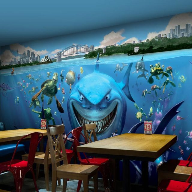3d Papel Murales Azul Coral Mar Tiburon Animales De Papel De Pared