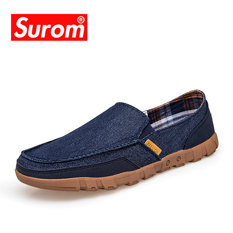 SUROM Spring Summer Mens Shoes Breathable Moccasins Denim Loafers Slip on Canvas Sneakers For Fathers Casual Shoes Plus Size