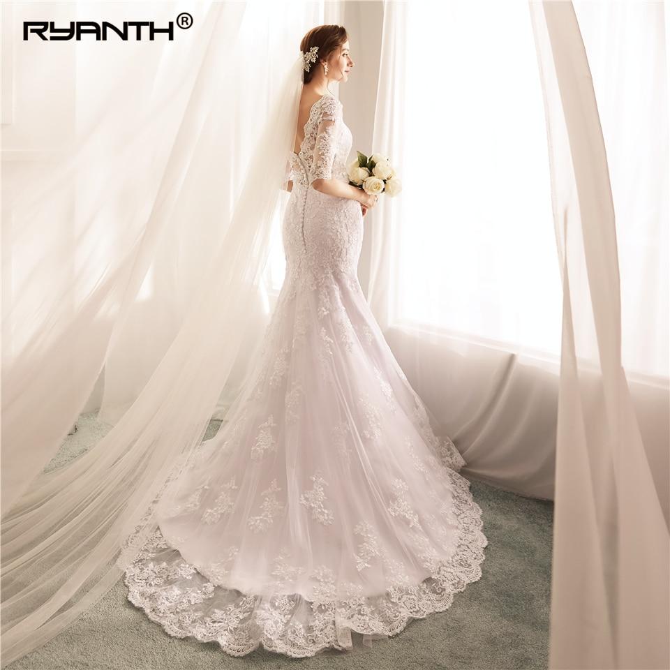 New Arrival Vestido De Noiva Hot Sale Half Sleeves Lace Mermaid Wedding Dress 2019 Custom Made V Neck Beach Robe De Mariage