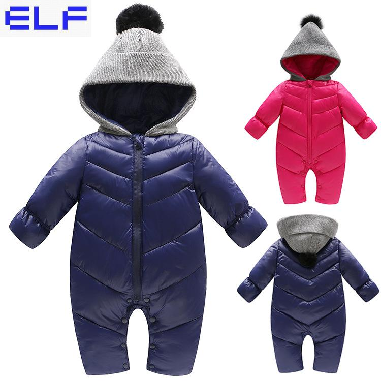 2018 Winter Baby Rompers Overalls Bodysuit Jumpsuit Newborn Girl Boy Duck Down Snowsuit Kids Infant Snow Wear