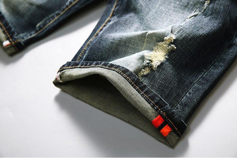 KSTUN Men's Shorts Jeans Dark Blue Stretch Retro Fashion Pockets Designer Poker Printed Ripped Biker Motor Jeans Denim Pants 17