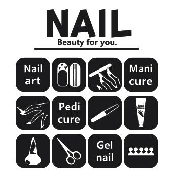 Nail Wall Sticker Manicure Polish Scissors Art Sign Mural Decal Beauty Salon Shop Window Glass Decoration