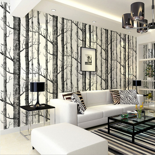 Birch Tree Pattern Non Woven Woods Wallpaper Roll Modern Designer Wall  Covering Simple Black And Part 49