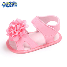 Summer Newborns Sandals Baby Girl PU leather Flat Shoes With Big Flowers Baby Shoes For 0-18 Months