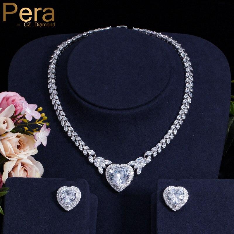 Pera classique couleur argent grand coeur forme cubique zircone cristal de luxe mariée accessoires de mariage ensemble de bijoux pour les mariées J123