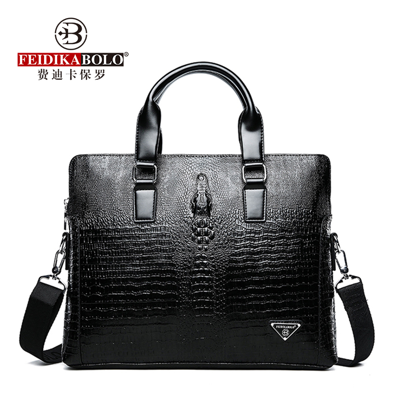d7b42f546 FEIDIKABOLO cocodrilo maletín de lujo Negro hombres bolsos del Mensajero de  la PU hombre de cuero bolsas hombre bolso de hombro ocasional
