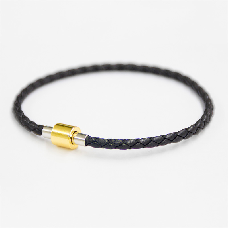 Three Colors Brass Magnet Clasp Men Leather Cord Wristband Rope Braided Bangles Leather Bracelets For Women Men`s Casual Jewelry