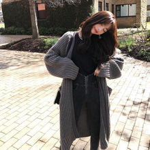 Net Red Lazy Coarse-needle Loose Thin Long Long-haired Knitted Autumn Winter Women New Style Cardigans Sweater