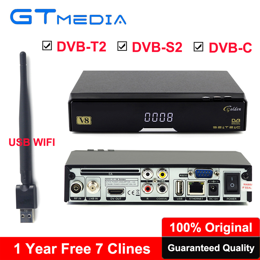 Original DVB-T2 HD Receptor V8 golden Support IPTV powervu Biss key IPTV DVB-T2 DVB-S2 DVB-C USB WiFi Digital Satellite Receiver ресивер dvb t2 s2 rolsen rdb 902 dvb t2