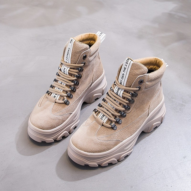 2019 Mode Militaires Cuir Femme Peluche Bottes Femmes D'hiver Chaud Noir Martin En Véritable Boots Sneakers De Newdiscvry forme Plate Chaussures khaki 6Y7fbgy