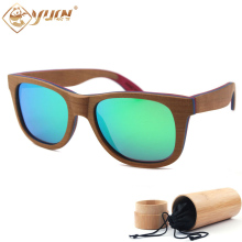 Skateboard Cherry Wood Sunglasses Handmade Frame Polarized Driving Glasses Wooden Sun Glasses Brand Designer W108