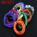 500pcs 2m/6FT Colorful Braided Nylon Netting Micro USB Data Sync Transfer Charger for Samsung galaxy Note II N7100 S4 S3 i9500