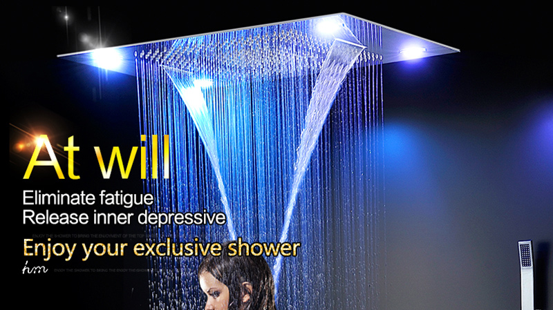 Luxury Led Rain Shower Head Large Rain LED Shower Set with Waterfall Shower Head with Embedded Ceiling 600x800 Rainfall Spout (1)