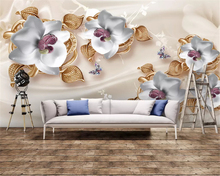 beibehang Custom fashion silky classic thickening wallpaper luxury 3D jewelry flower TV background wall papers home decor behang