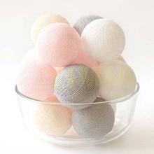 Pink/White/Cream/Gray Cotton Balls LED Garland String Fairy Lights Bat