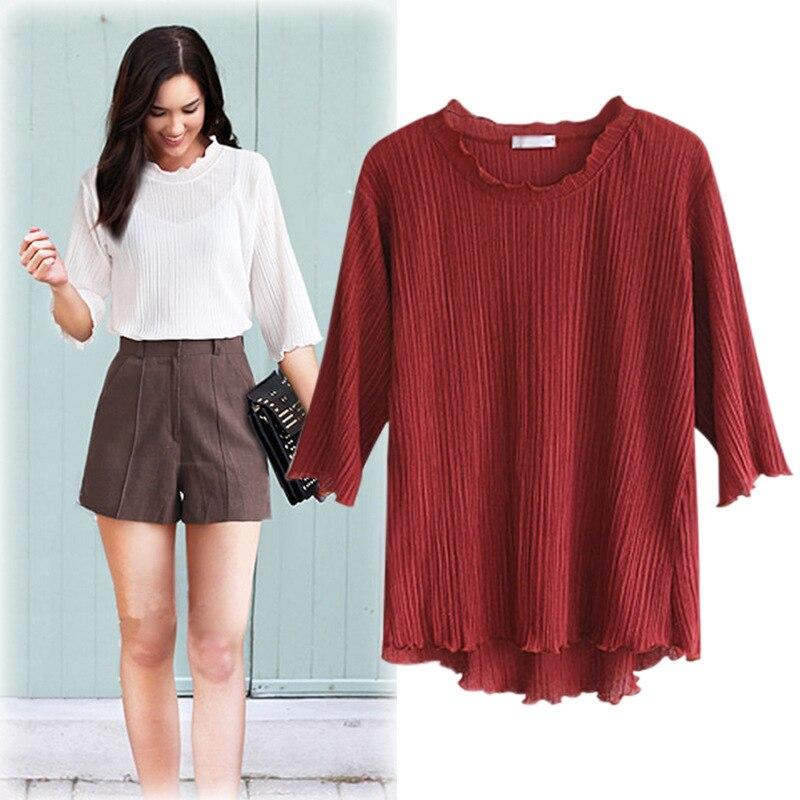 2018 New Autumn Summer Solid Colour Round Neck White Black Top Women Elegant Blouse Plus Size Office Lady Fashion Loose Blouse