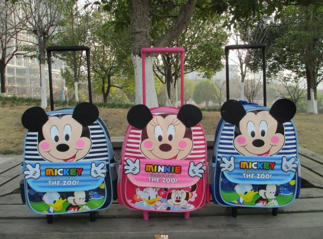 Mickey Minnie Mouse children school bags with wheels font b backpack b font child mochila infantil