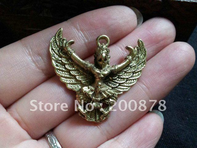 TBP496 Ottone dorato tibetano Dapeng Amuleti fascino, 34 * 30mm, - Per vacanze e feste