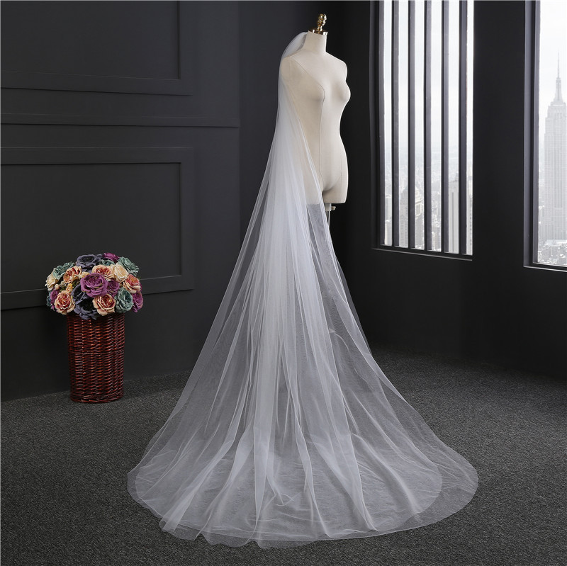 Simple 3 meter wedding veil long white wedding veil bridal veils two-layer mesh veils for bride with comb WAS10059