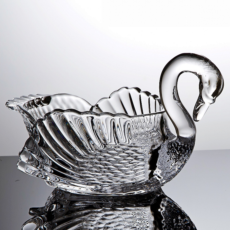 Crystal Glass Swan Statue Fruits Serving Bowl Decorative Swan Sweets Storage Jar Gift Craft Dinnerware Ornament Accessories