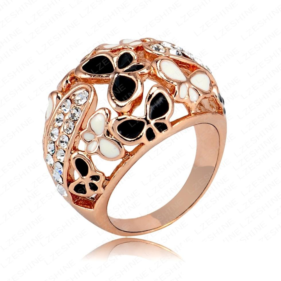 Big Ring Costume Jewelry Real Rose Gold Color Beautiful Enamel Butterfly  Rings Micro Pave Austria Crystals
