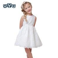 Vyu الأزياء الأبيض الأميرة فساتين الأطفال الفتيات الصيف الأطفال طفل أطفال لباس ضيق الدانتيل الجميلة ، أسود/أبيض/بيج