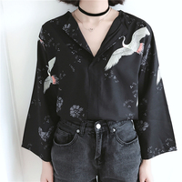 Chic Style Cranes Floral Flowers Chiffon 2017 New Summer Fashion V Collar Nine Points Sleeves Blouse