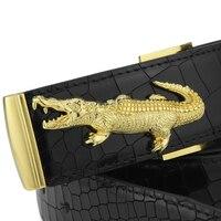 High Quality Crocodile Buckle Belt For Men Upscale Full Grain Leather Waist Strap Copper Buckle Luxury