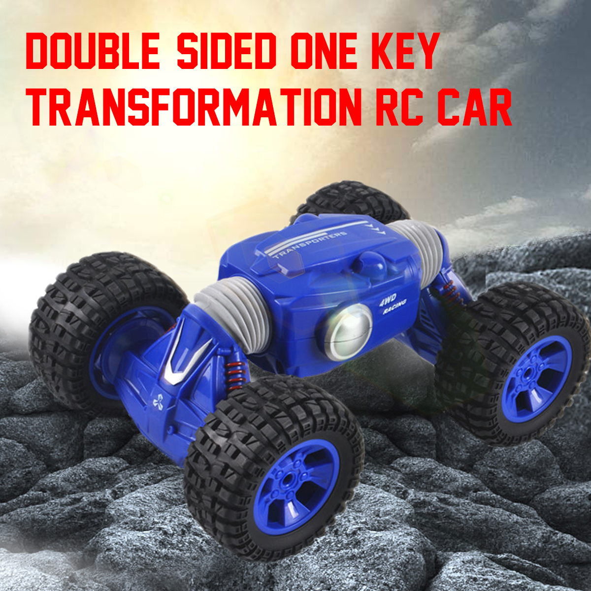 4 Channel 1/16 2.4G Remote Control Climb Double Sided Stunt Car Rechargeable Deformation Toy 4WD Chassis Durable Blue Stable 777 219 rechargeable 1 channel radio control r c submarine toy green