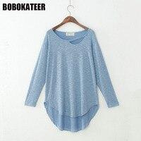 BOBOKATEER Cotton Long Sleeve White T Shirt Women Tops Tee Shirt Femme Tshirt Women T Shirt