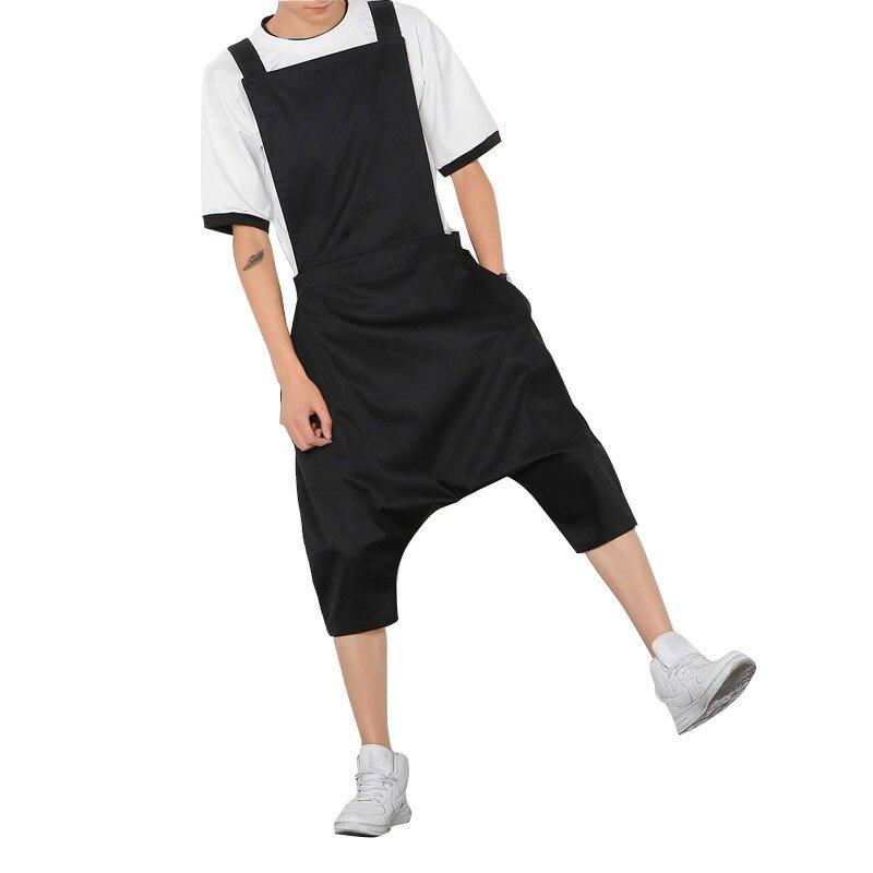 Intellective Mens Hiphop Laag Kruis Broek Zwarte Jumpsuit Jumpsuit Mode Mannelijke Bib Broek Overalls Casual Losse Harembroek Plus Size Modern Ontwerp