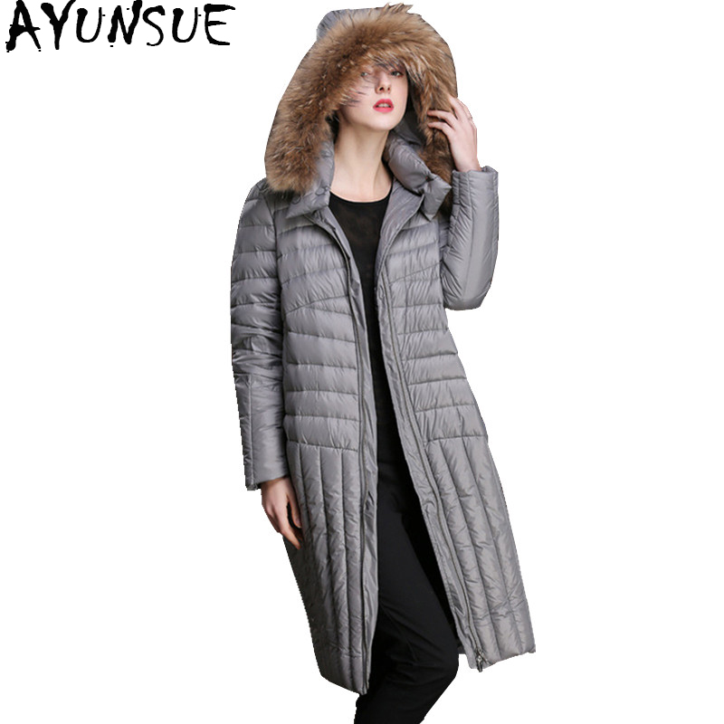AYUNSUE 2018 Casual Women Down Jacket Winter Warm Coat Female Raccoon Fur Collar Hooded Down Jackets Long Overcoat Parka WYQ887