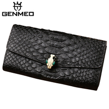 Фотография New Arrival Famous Brand Design Genuine Leather Wallets Women Serpentine Cow Leather Coin Purse Snake Head Clutch Money Bags